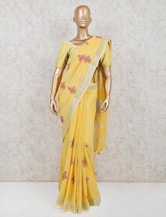 Yellow linen reception special saree