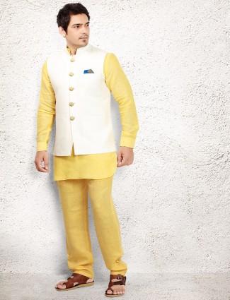 Yellow linen waistcoat set