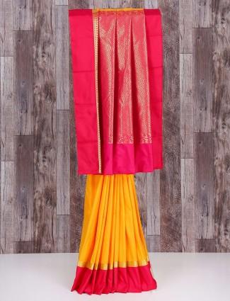 Yellow magenta plain silk saree