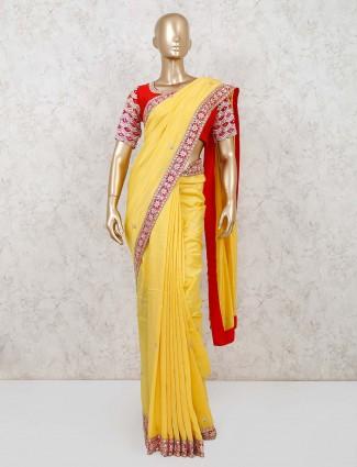 Yellow muga silk festival saree with readymade blouse