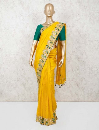 Yellow muga silk saree for festivals