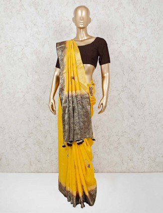 Yellow muga silkl saree for wedding
