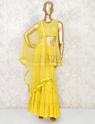 Yellow net designer punjabi sharara suit
