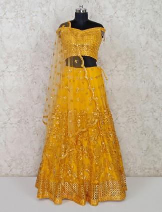 Yellow net lehenga choli exclusive for wedding