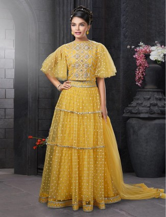 Yellow net lehenga choli for girls