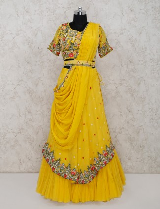 Yellow net lehenga choli for wedding session