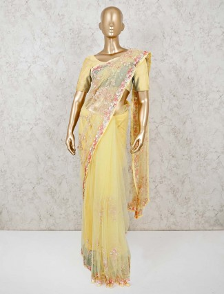 Yellow net saree for wedding