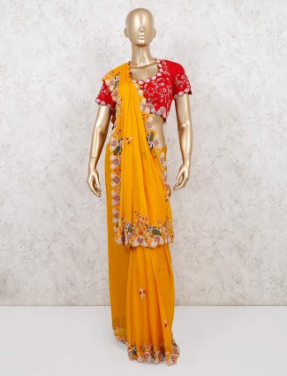 Yellow organza tissue silk saree with readymade blouse