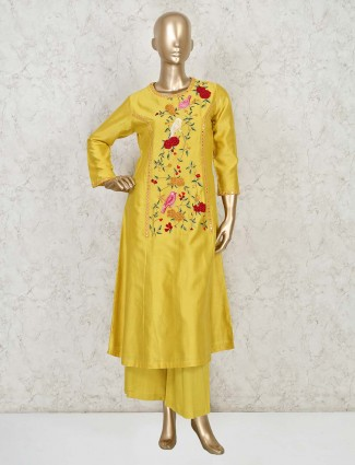 Yellow palazzo salwar suit in cotton silk for festivals