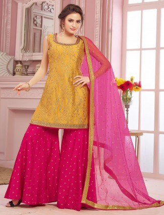 Yellow palazzo suit in cotton silk
