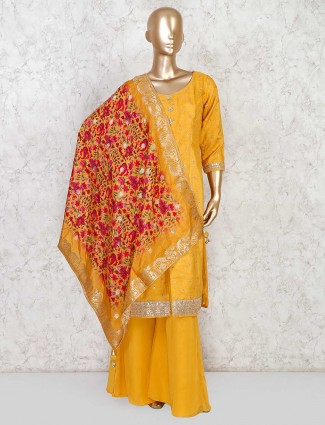 Yellow palazzo suit with beautiful dupatta