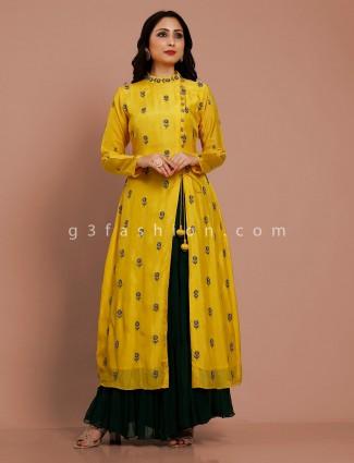 Yellow party wear cotton silk lehenga suit
