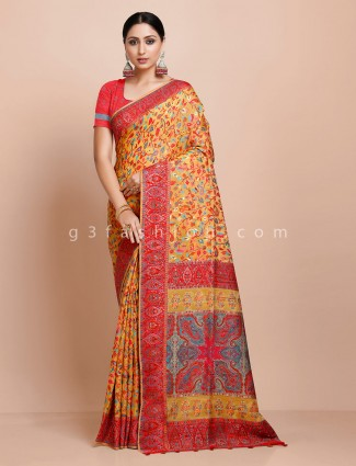 Yellow pashmina silk saree with thread weaving