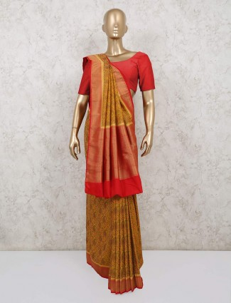 Yellow pashmina silk thread woven saree for festive