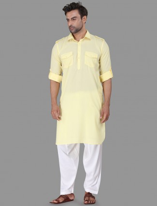 Yellow pathani suit in cotton rayon