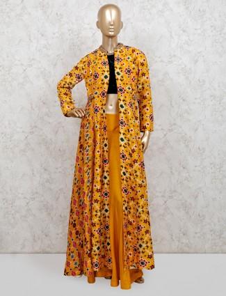 Yellow patola silk jacket indo western palazzo suit