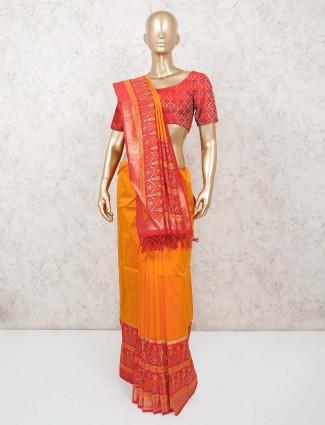 Yellow patola silk saree for wedding