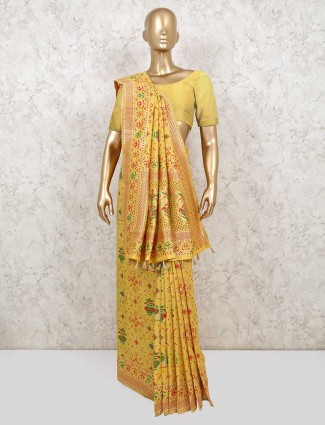 Yellow patola silk saree for wedding function