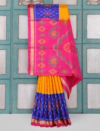 Yellow patola silk saree for wedding wear