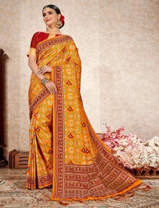Yellow patola silk wedding wear saree