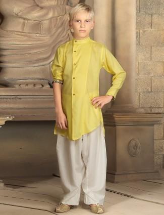 Yellow plain festive wear cotton kurta suit