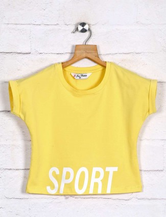 Yellow printed casual girls top