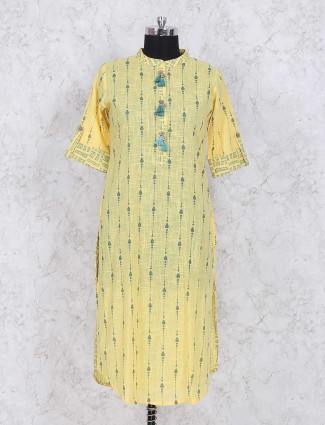 Yellow printed cotton kurti for casual