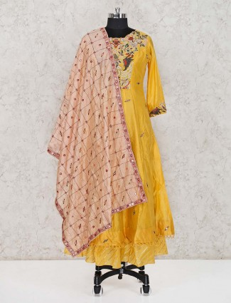 Yellow printed cotton silk salwar suit