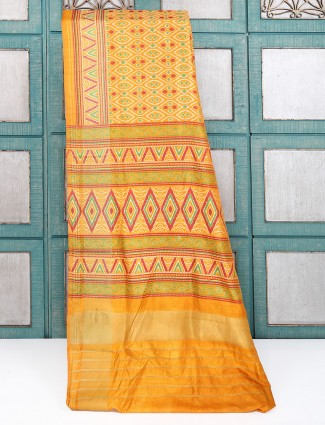 Yellow printed cotton silk saree
