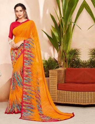 Yellow printed festive saree in chiffon