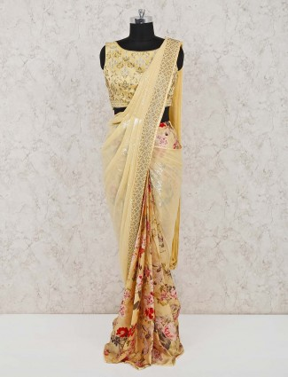 Yellow printed georgette ready to wear saree