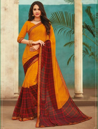 Yellow printed georgette saree for festival
