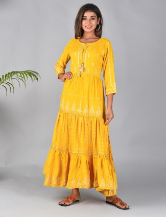 Yellow printed kurti for festive