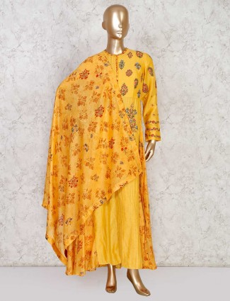 Yellow printed palazzo suit set in cotton silk