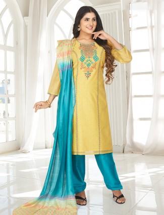Yellow printed punjabi salwar suit with quarter sleeves