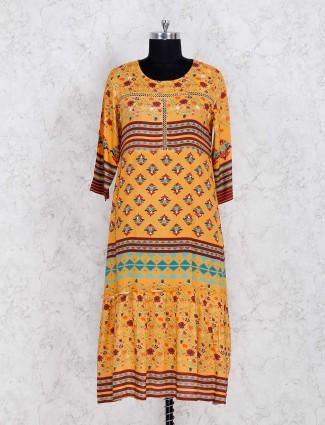 Yellow printed round neck kurti