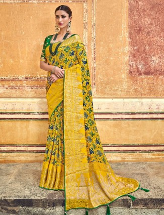 Yellow printed wedding patola silk saree
