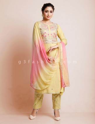Yellow punjabi pant suit in cotton for festive days