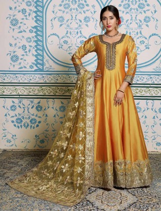 Yellow quarter sleeves floor length anarkali salwar suit