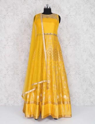 Yellow raw silk floor length anarkali suit