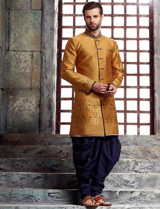 Yellow raw silk kurta suit