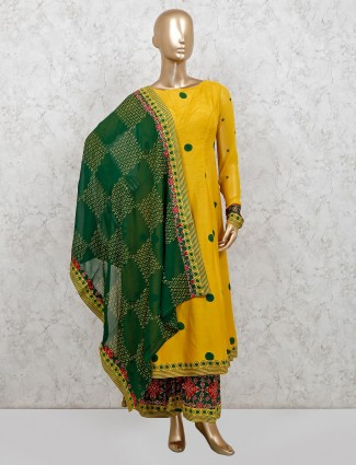 Yellow raw silk printed punjabi palazzo suit