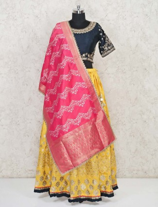 Yellow raw silk round neck lehenga choli