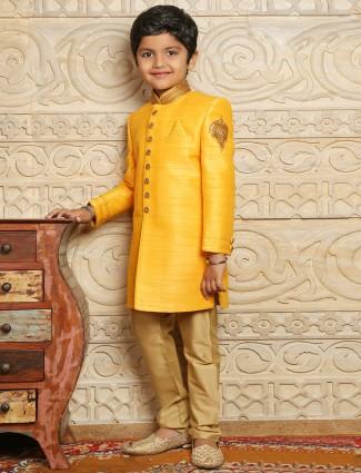 Yellow raw silk wedding wear boys indo western sherwani