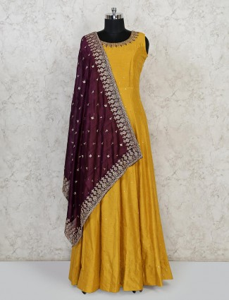 Yellow raw silk wedding wear floor length anarkali suit