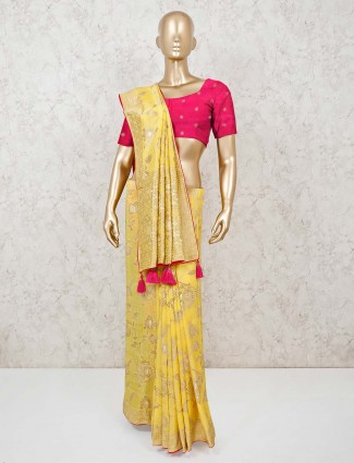 Yellow saree design in muga silk