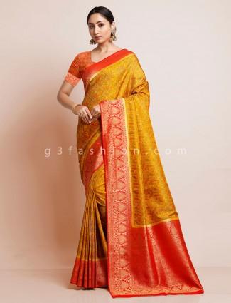 Yellow saree design in pashmina banarasi silk