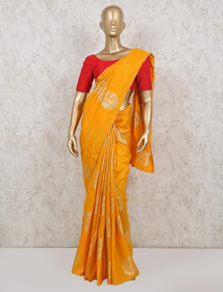 Yellow saree in dola silk for haldi function