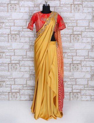 Yellow satin designer ready to wear saree