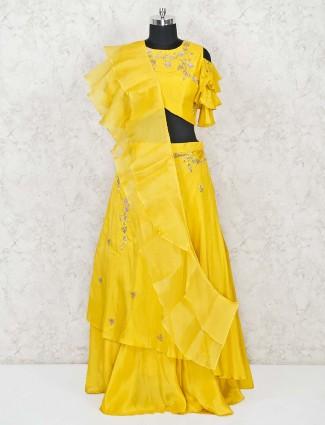 Yellow satin silk wedding lehenga choli with ruffle dupatta